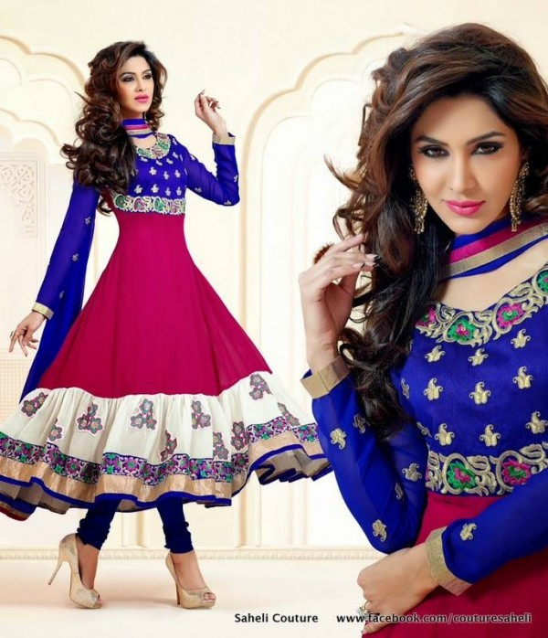 Saheli Couture Rose Petals Indian Frocks Collection 2014 with Price gf